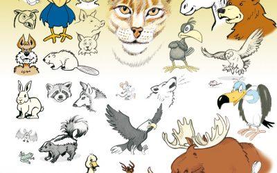 Un nouvel album de dessins; les animaux de la ferme et de la forêt.